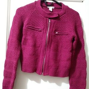 H&M Zip Up Wool Blend Moto Sweater